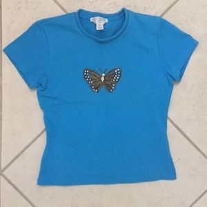 Blue Petite Sophisticate butterfly sequin shirt